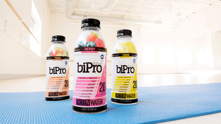 BiPro Protein Water on a Yoga Mat