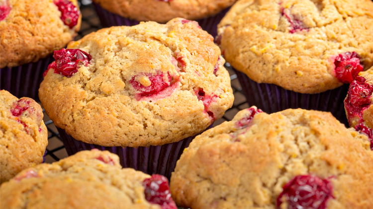 Cranberry orange muffins made with BiPro