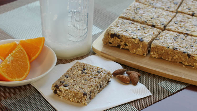 Chocolate Chip Almond Oat Bars Made with BiPro Whey Protein Isolate
